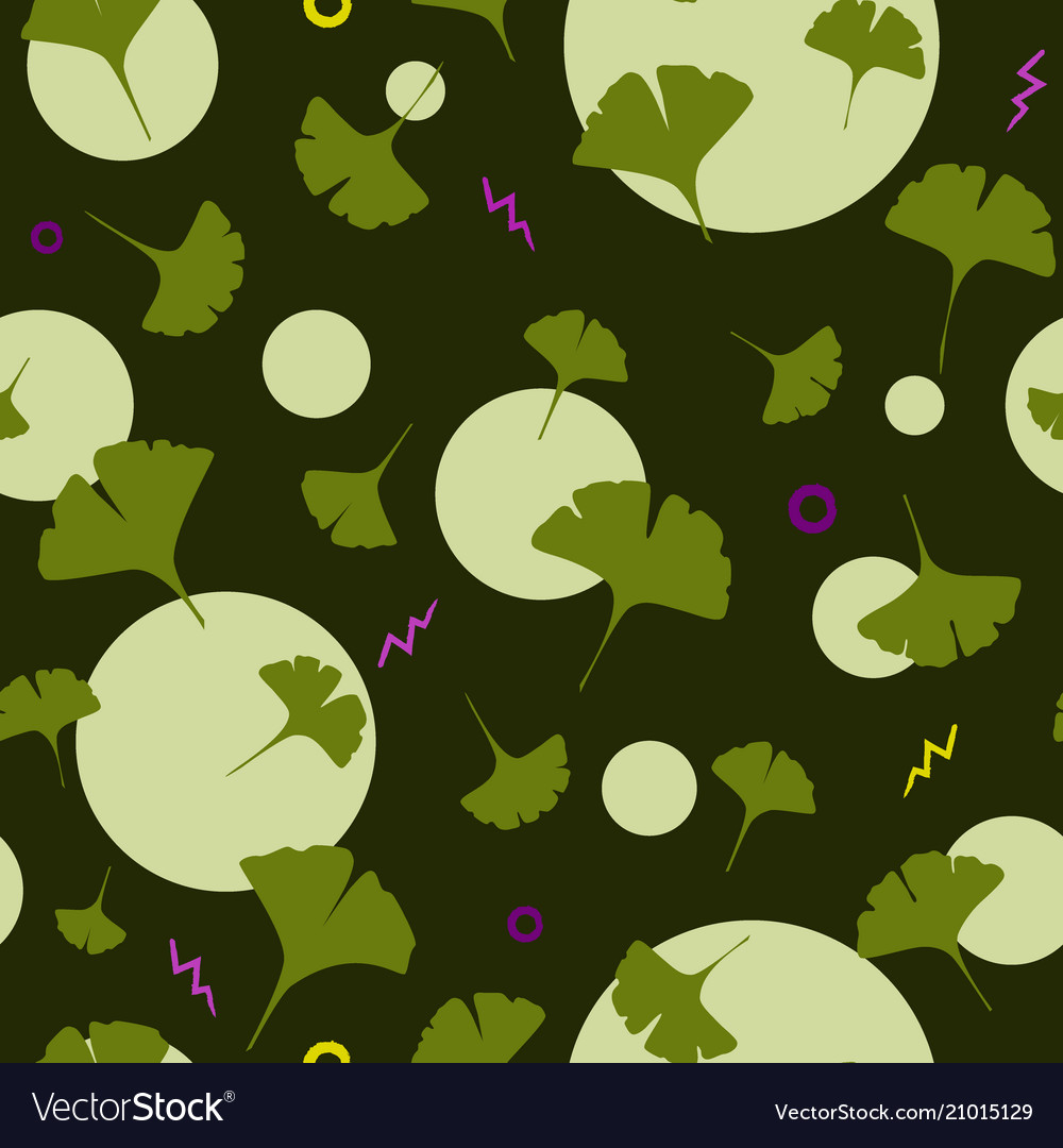 Ginkgo seamless pattern on dark background with Vector Image 1000x1080