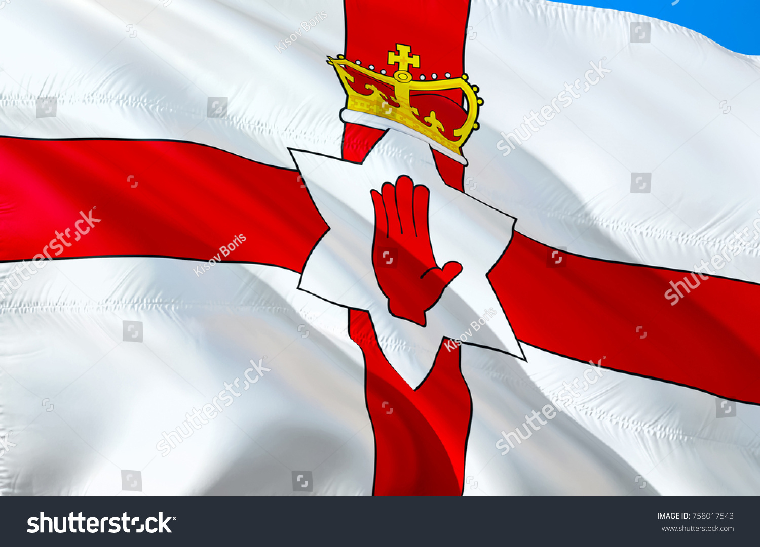 Royalty Stock Illustration of Northern Ireland Flag 3 D 1500x1081