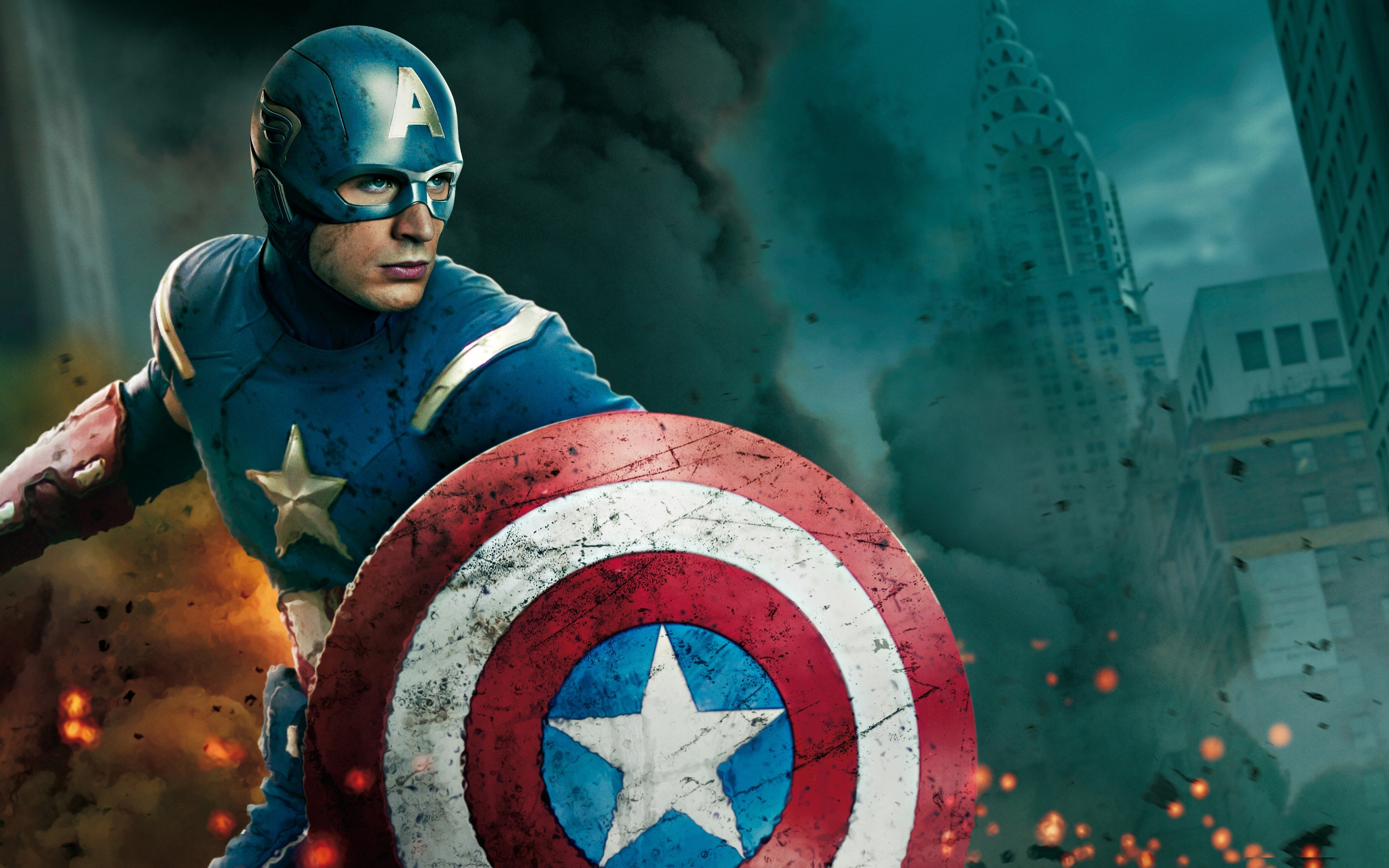 Captain America superheroes shield Chris Evans movie 3840x2400