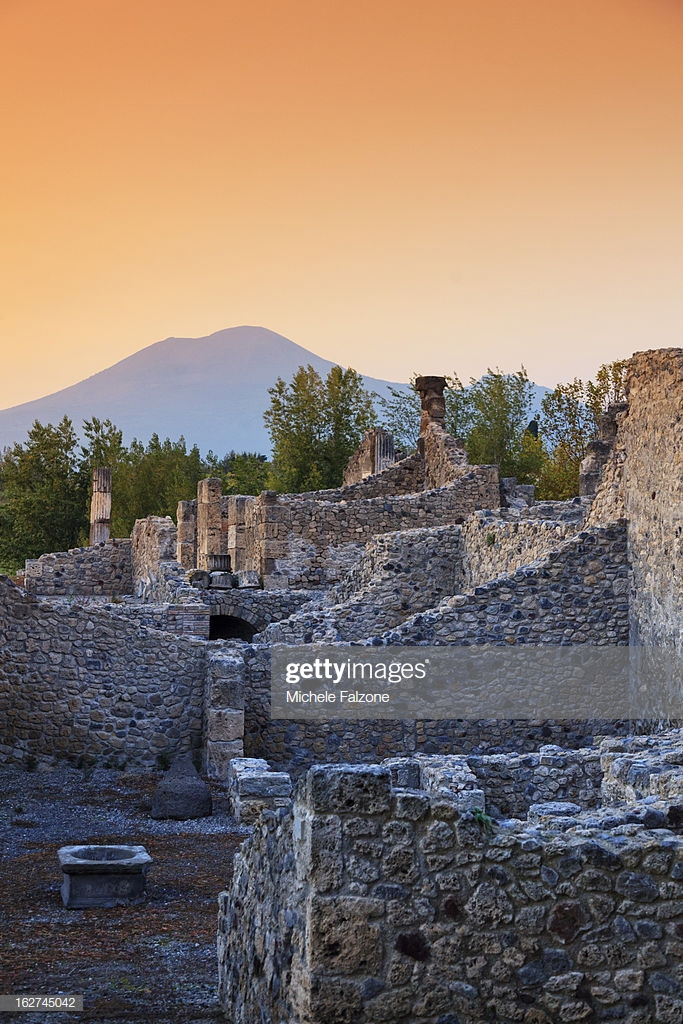 Italy Campania Naples Pompeii Archaeological Site With Mt Vesuvius 683x1024