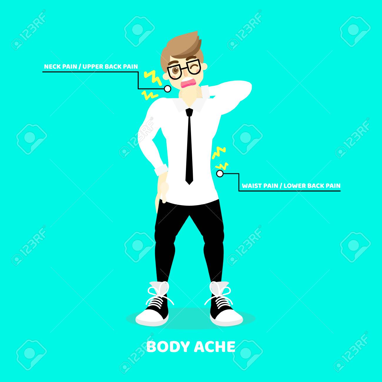 Man Having Body Ache Backache Neck Upper Lower Waist Pain 1300x1300