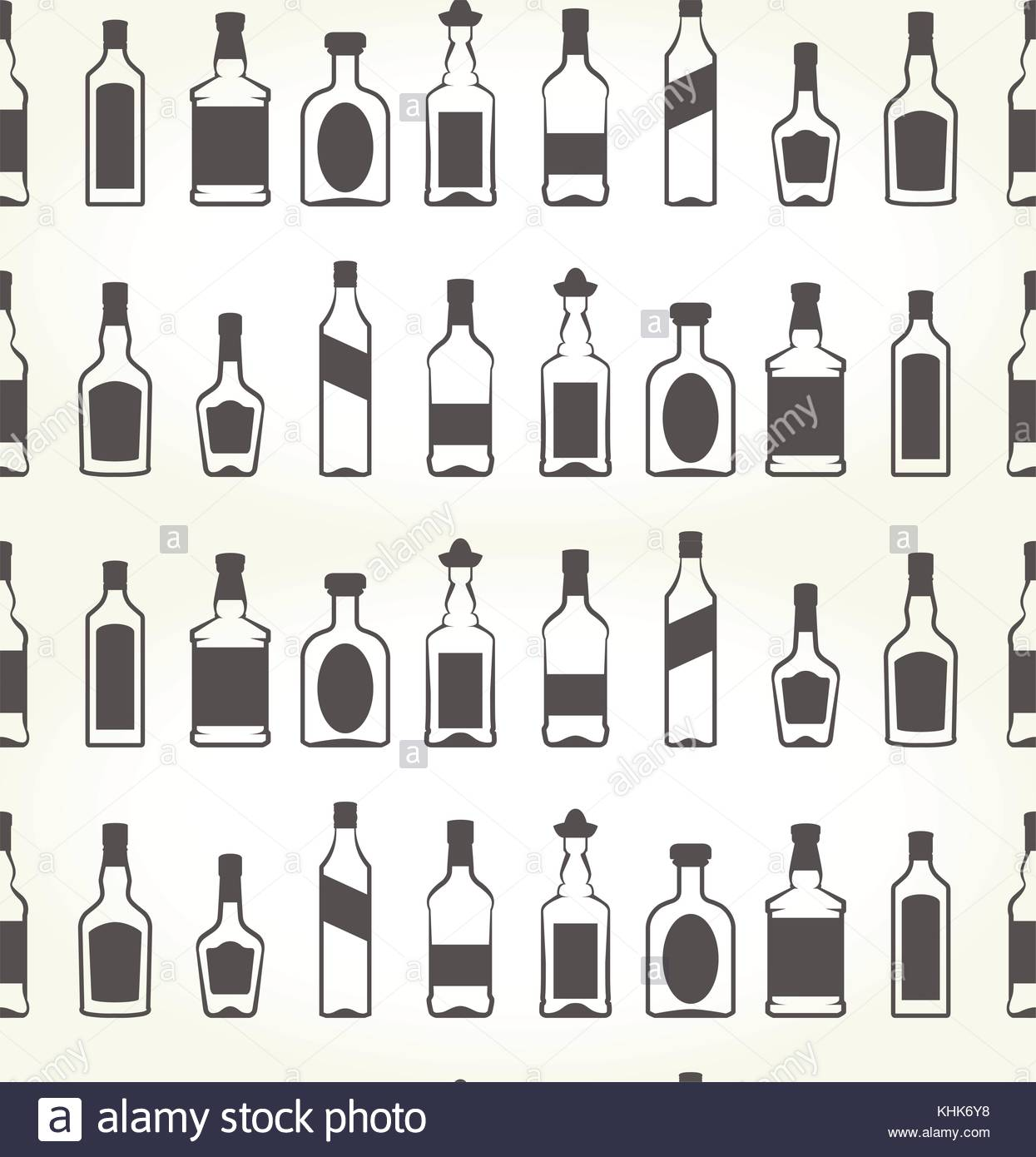Alcohol bottels seamless patten   booze background Stock Vector 1245x1390