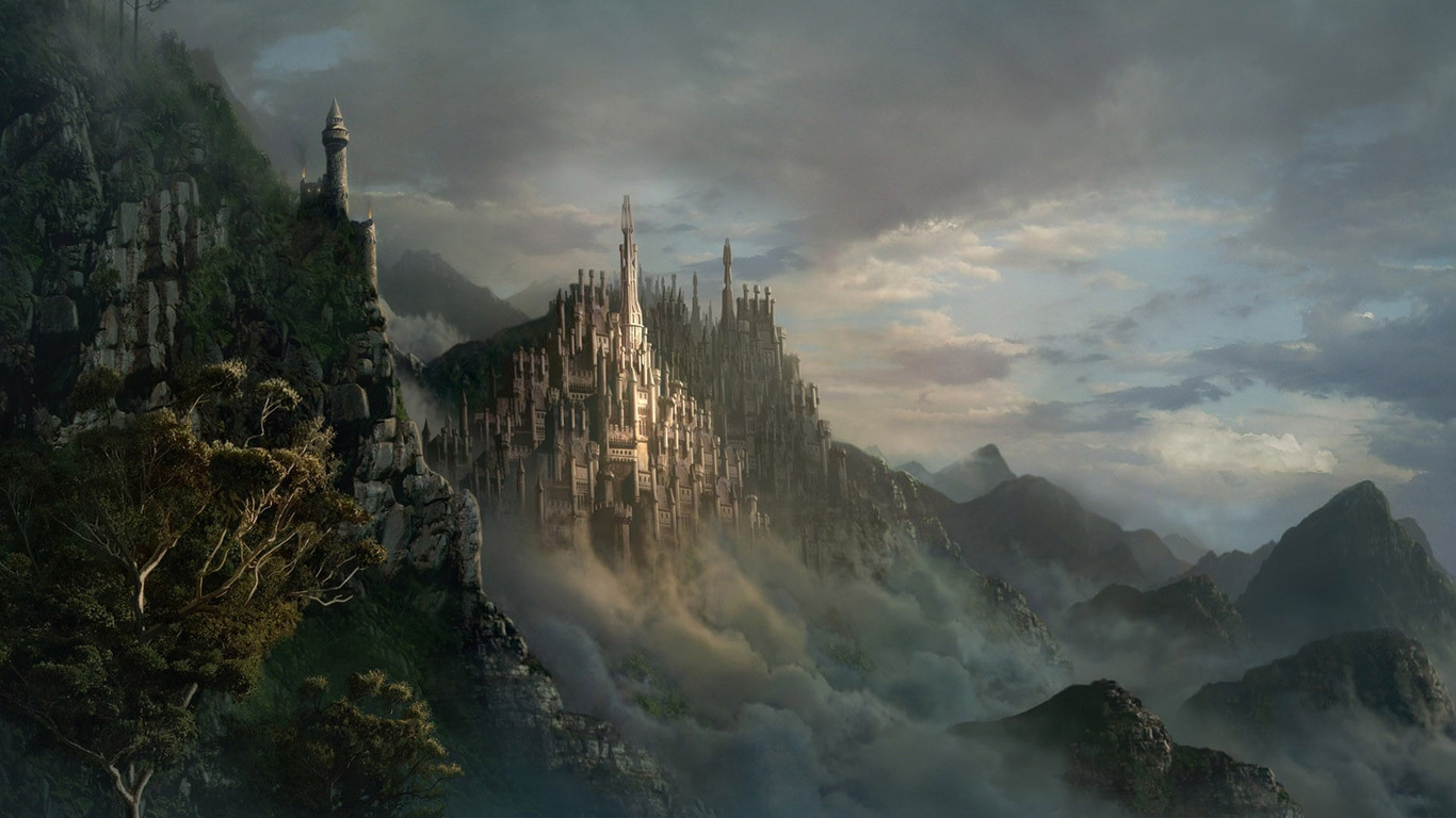 Download Castle in the clouds wallpaper 1366x768