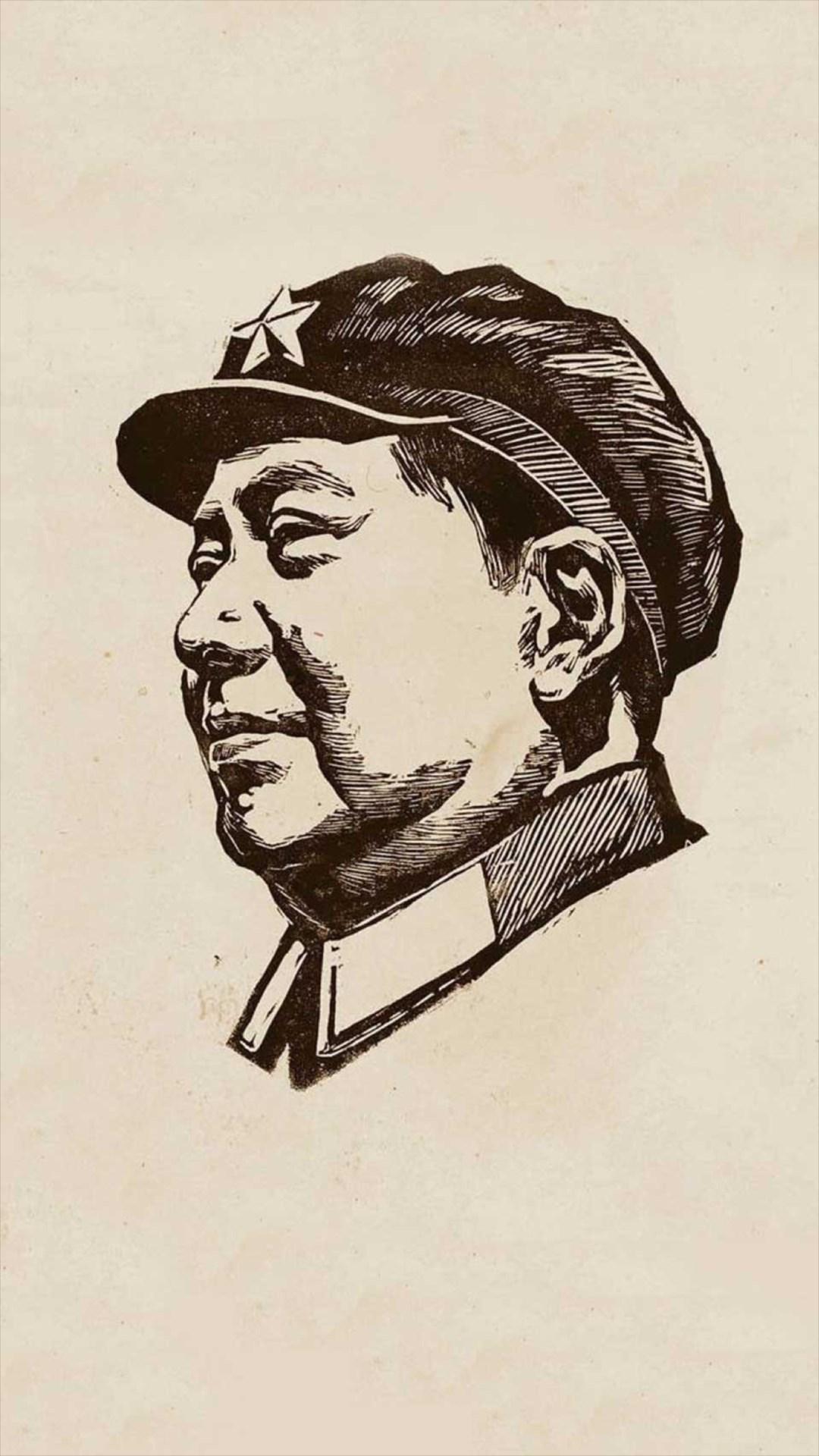 Chinese Revolutionary Leader Portrait Drawn Art iPhone 8 1080x1920