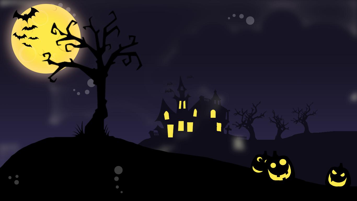 Halloween Wallpapers Desktop Scene Halloween wallpaper 1366x768