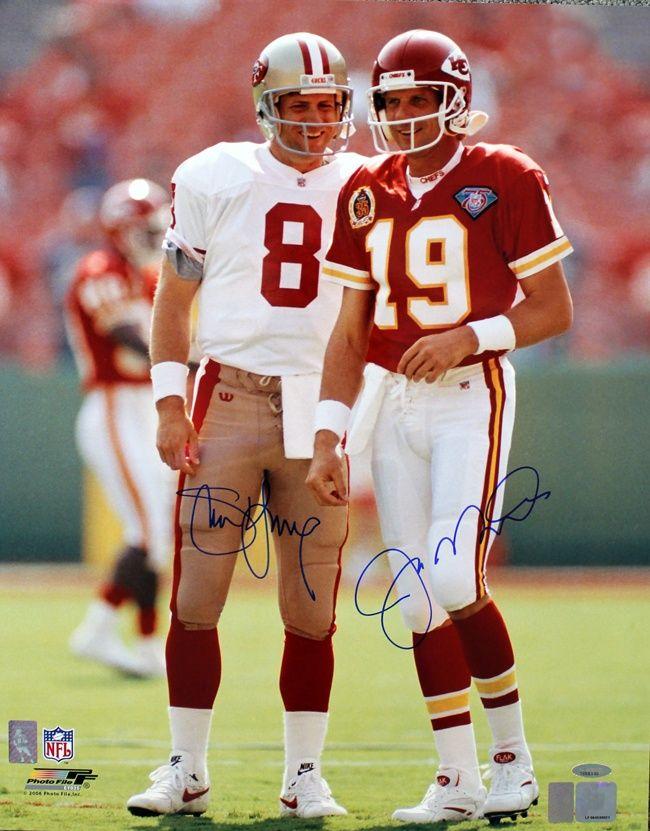 Joe Montana of the Chiefs alongside his 49ers replacement Steve 650x831