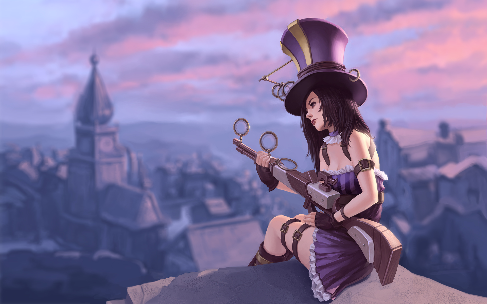 purple league of legends caitlyn the sheriff of piltover tsuaii 1920 1920x1200