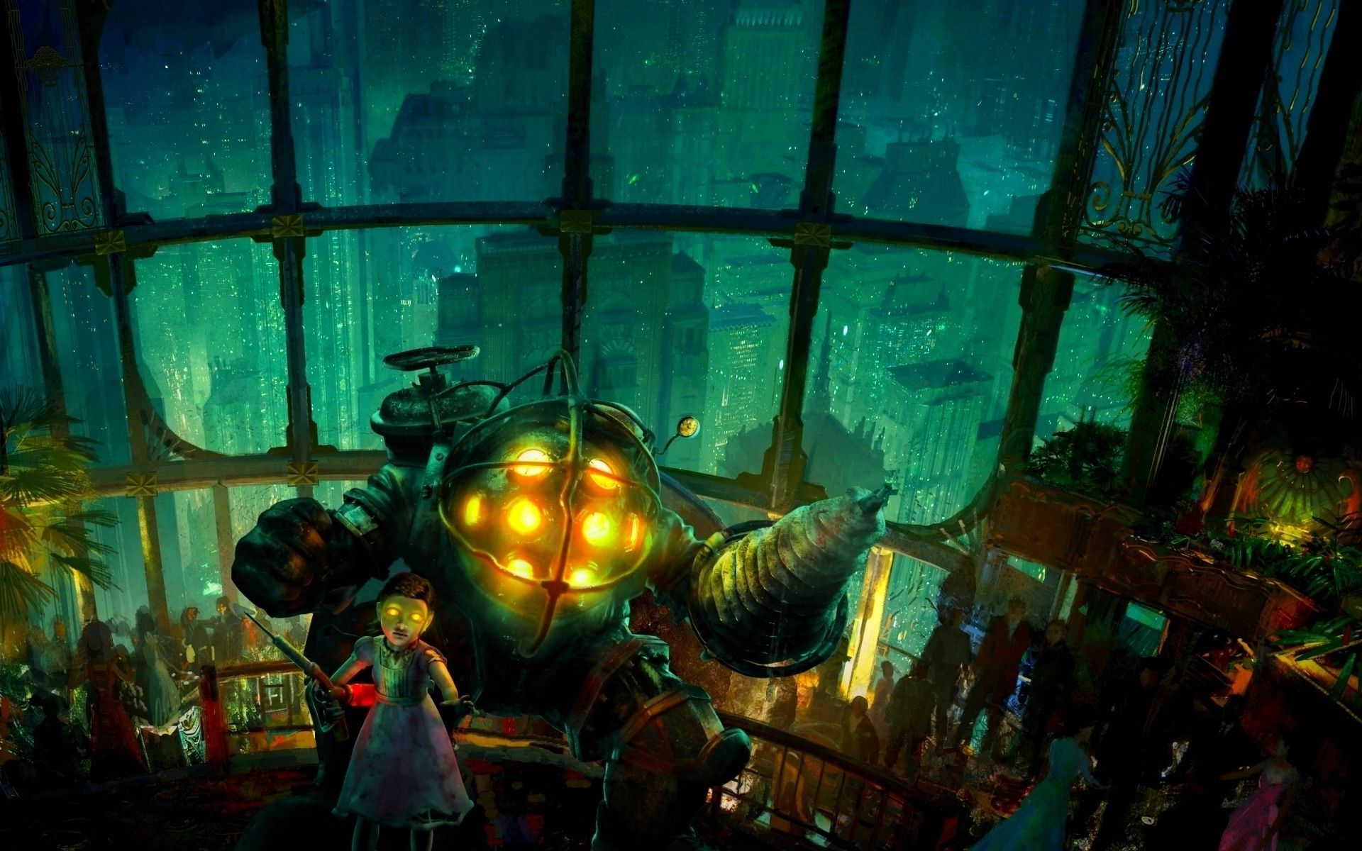 Free Download Big Daddy And Little Sister Bioshock Wallpaper 10011