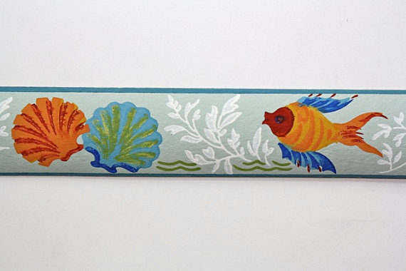 Bathroom Border   Under the Sea Orange and Blue Fish and Seashells 570x380