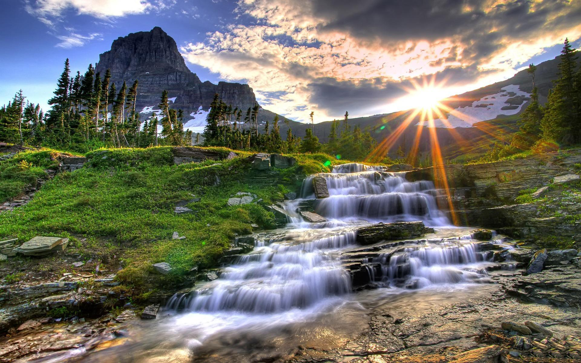 Wallpaper montana, sunset, mountain, river wallpapers landscapes ...