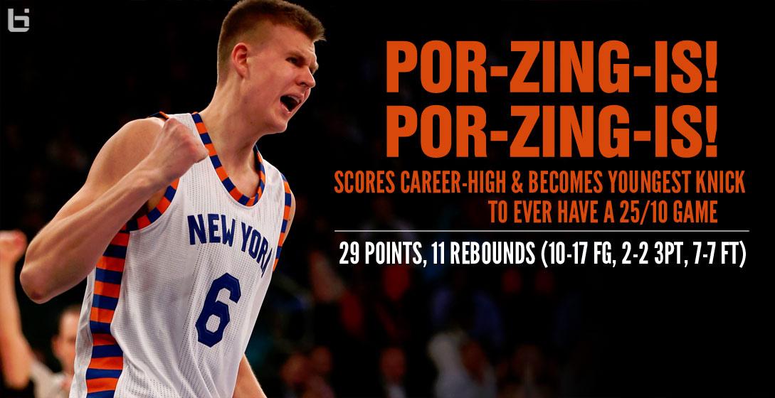 Kristaps Porzingis Scores Career High 29 vs Hornets Makes Knicks 1089x560