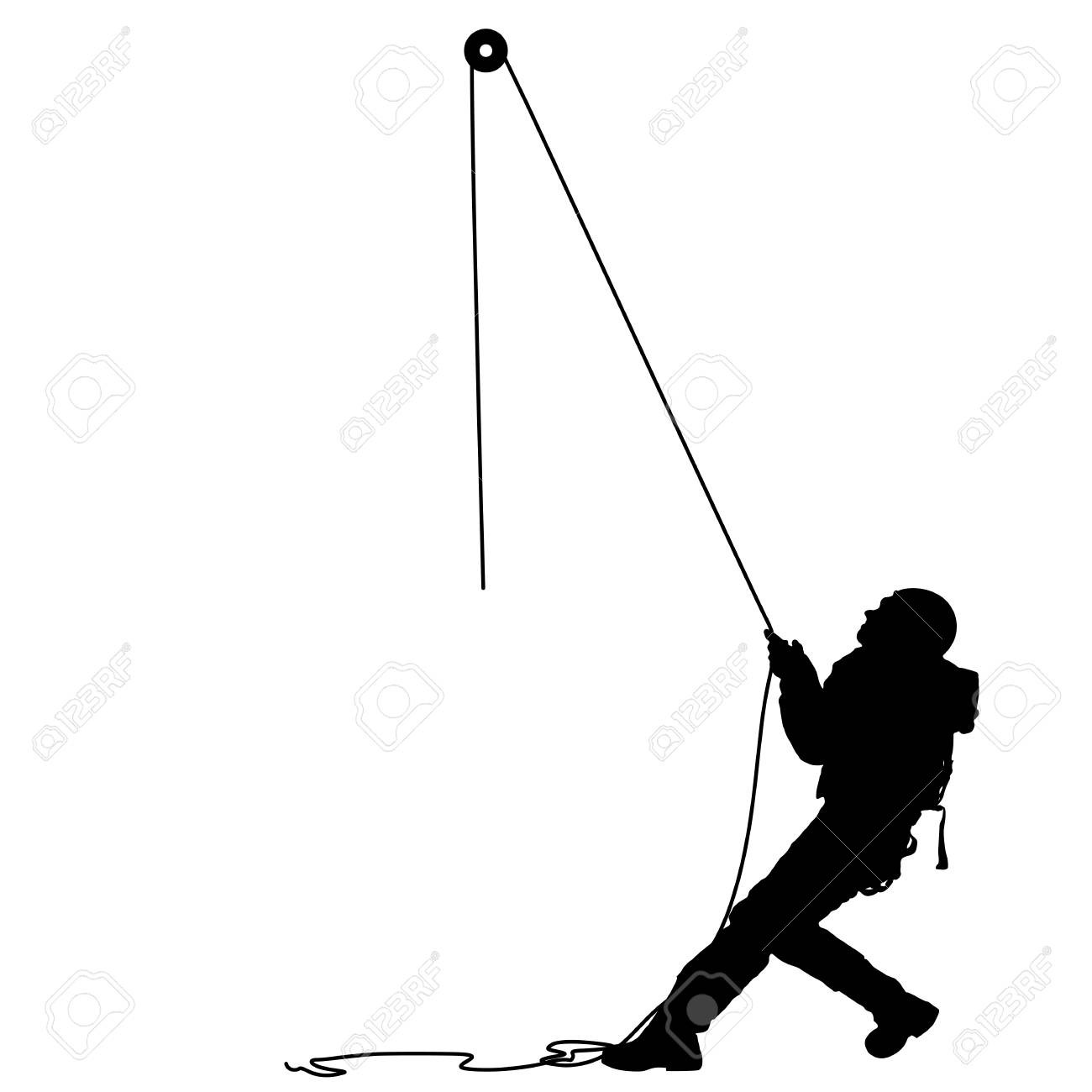 Black Silhouette Craftsman Pulling Rope On White Background 1300x1300