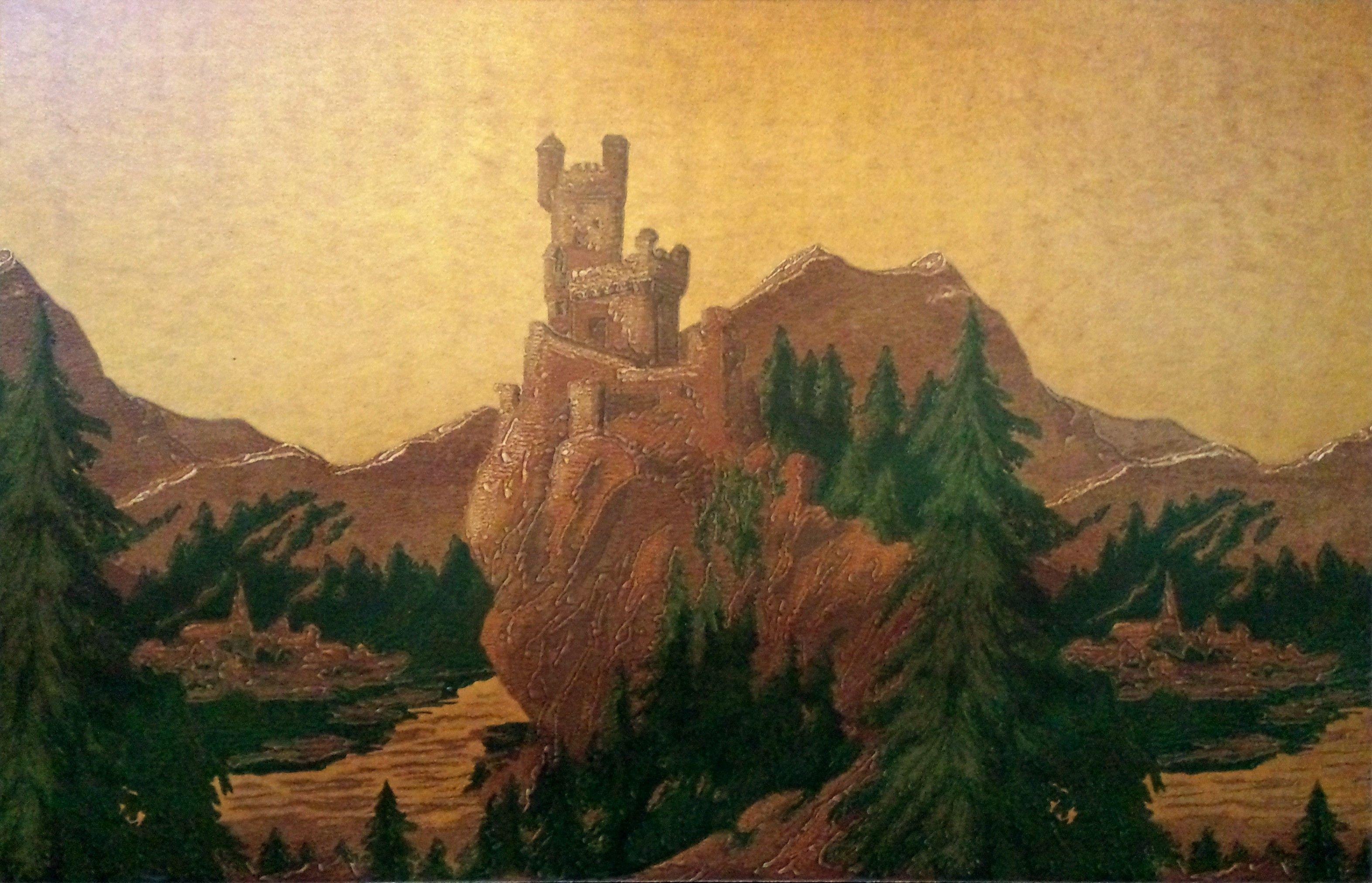 The Rhine Castles Frieze on GoldAntique WallpaperWall Art 3144x2024