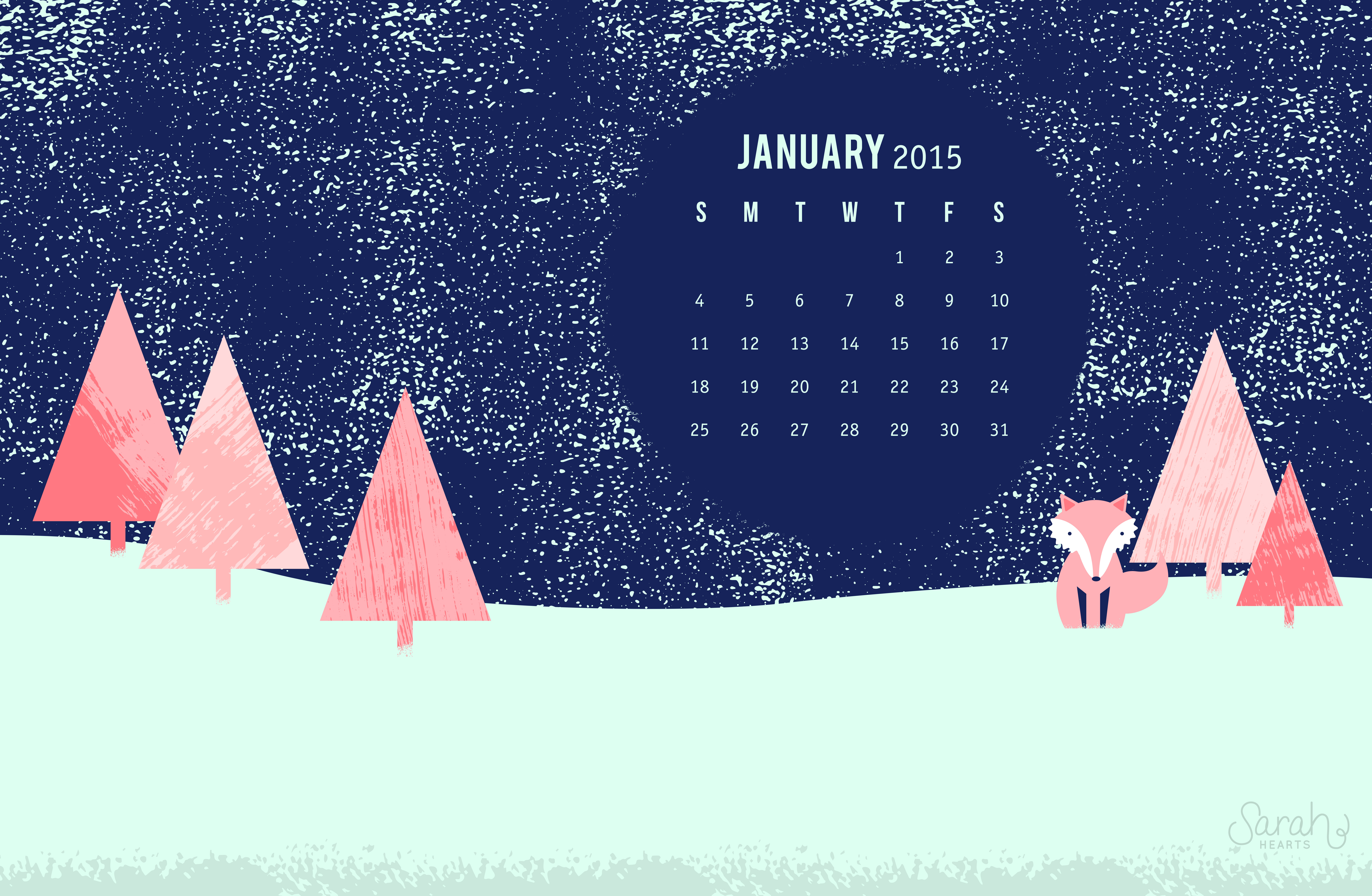 January 2015 Calendar Wallpaper   Sarah Hearts 8800x5744