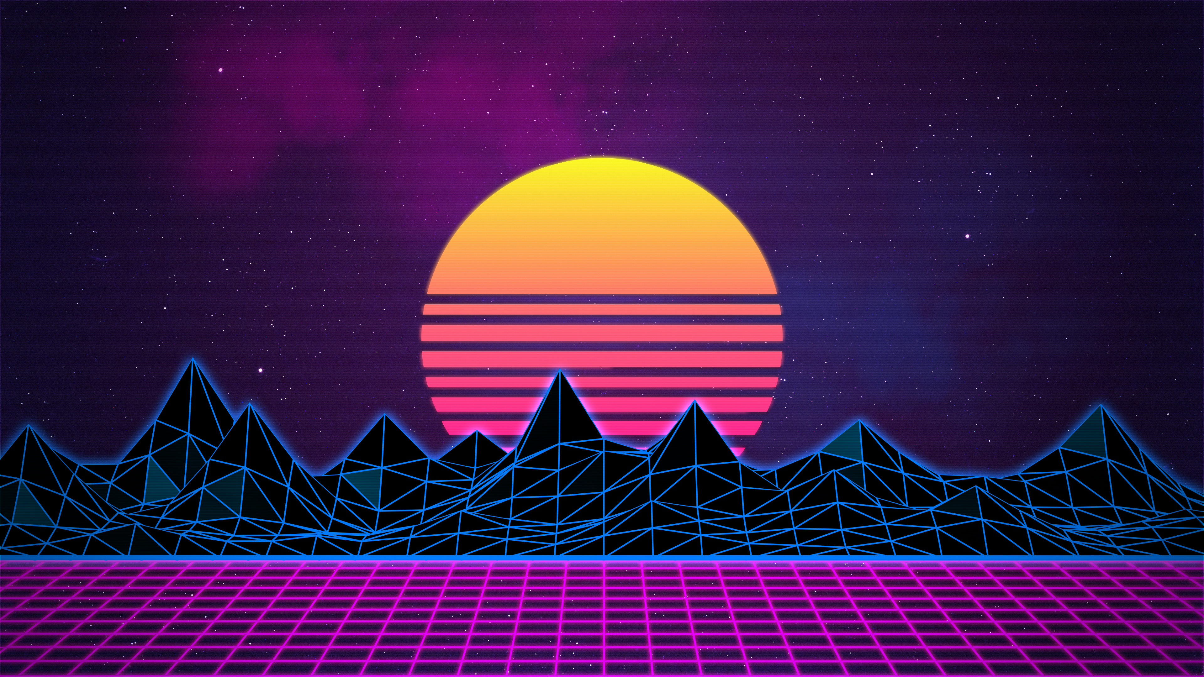 Retrowave Neon 80s Background   4K by Rafael De Jongh 3840x2160