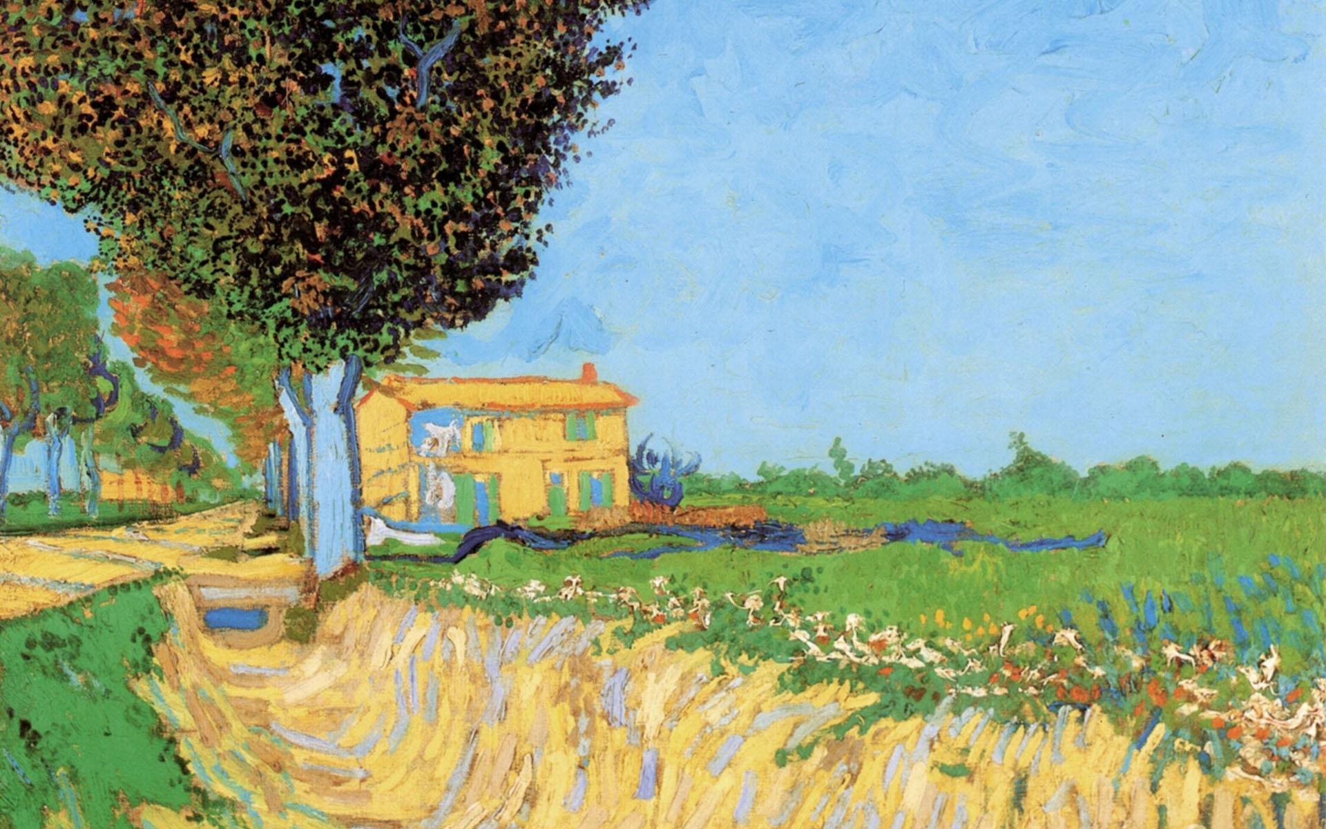 Painting of Vincent Van Gogh   A lane near arles 1920x1200