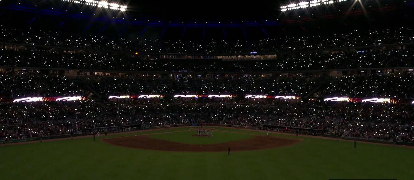 A little wallpaper of SunTrust park being fully lit up Braves 1331x581