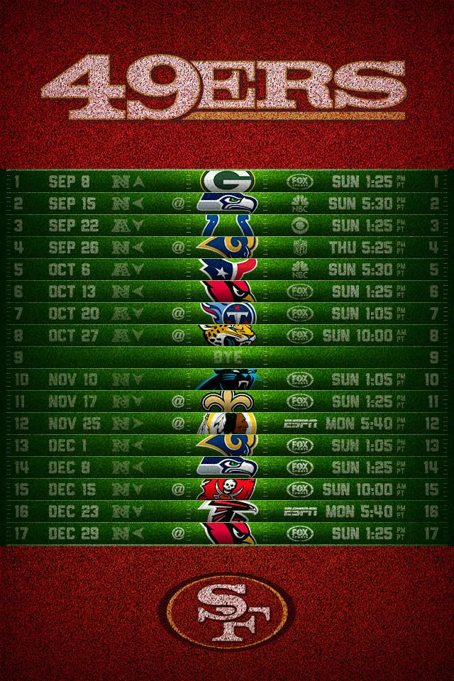 San Francisco 49ers 2013 Schedule iPhone 4 Wallpaper 640x960 640x960