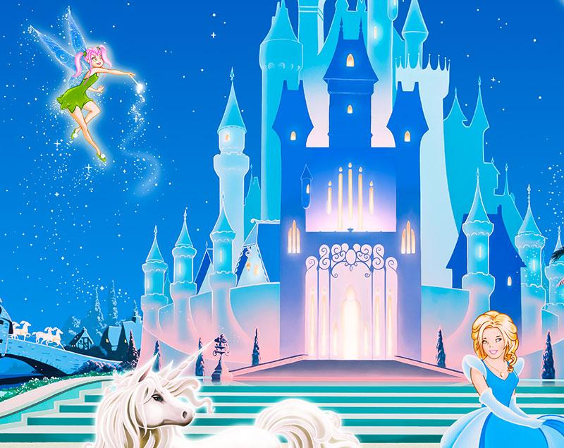 Disney princess castle wallpaper wallpapersafari for Disney castle mural wallpaper