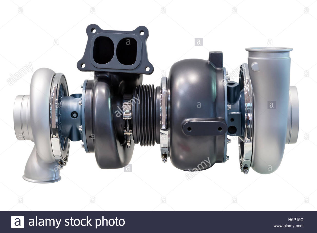 Automotive twinturbo supercharger from a truck isolated over white 1300x956