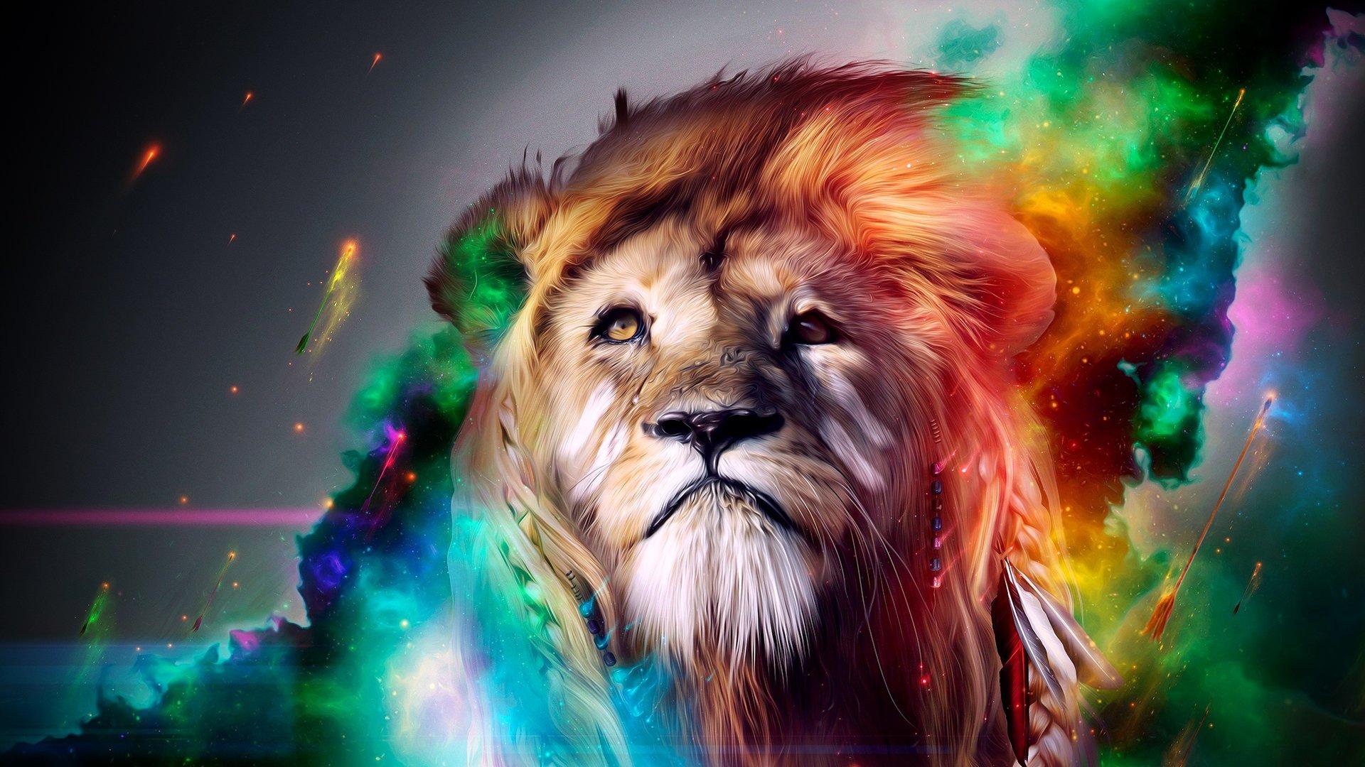 Artistic Colorful Lion Desktop HD Wallpaper   Stylish HD Wallpapers 1920x1080