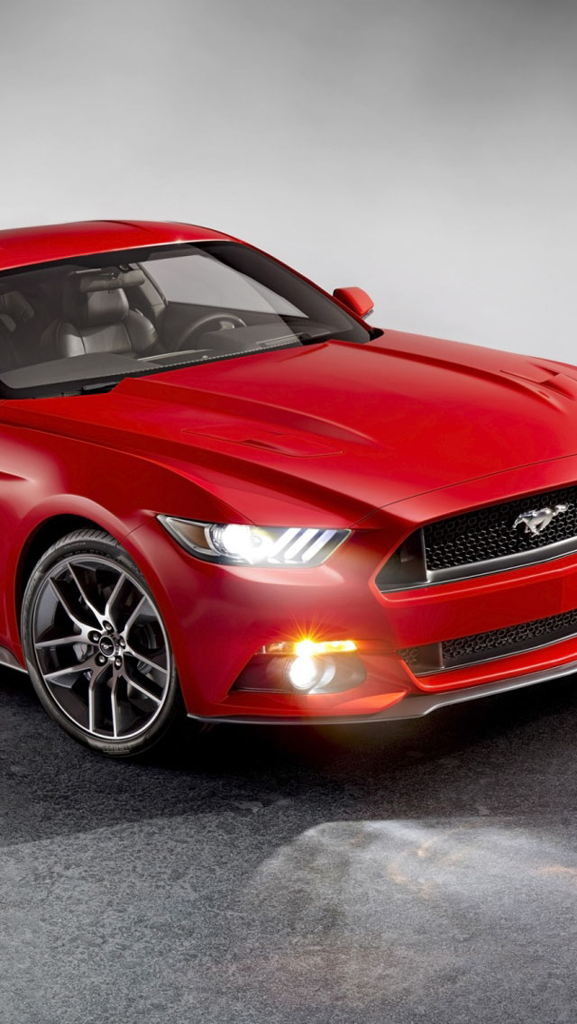 Red Ford Mustang 2015 Wallpaper   iPhone Wallpapers 640x1136