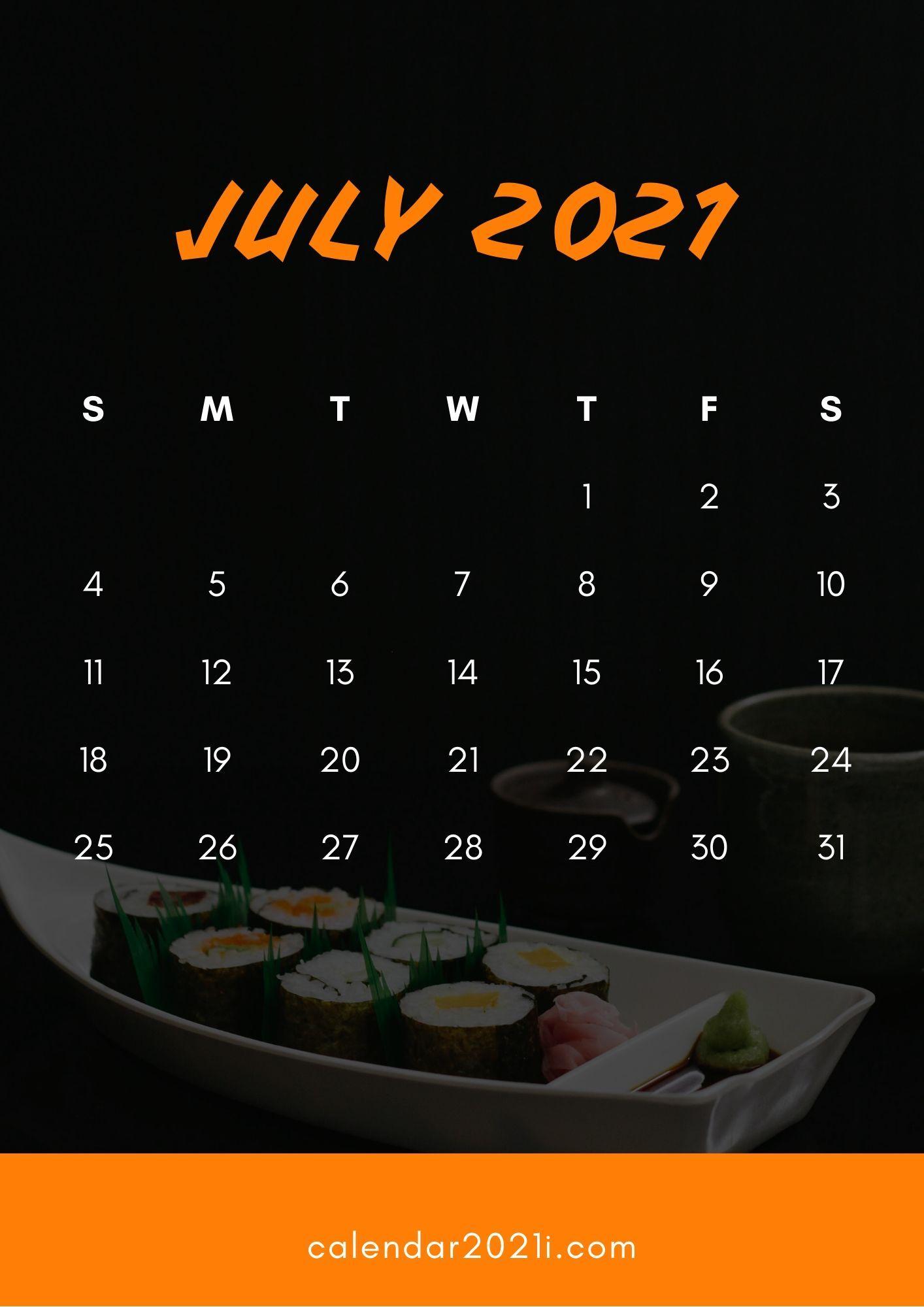 July 2021 Calendar HD Wallpaper for iPhone background Calendar 1414x2000