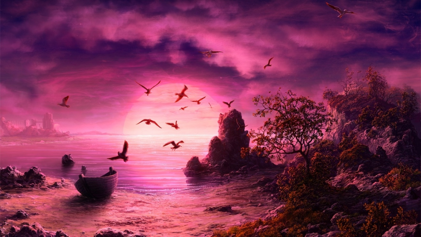 Purple Sunset wallpapers and images   wallpapers pictures 1366x768