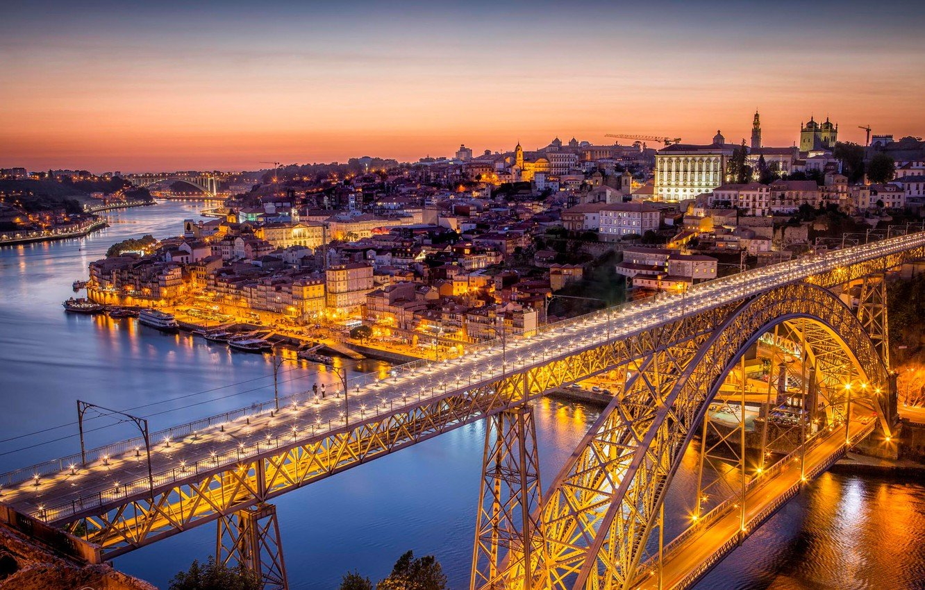 Wallpaper bridge lights river home panorama Portugal Porto 1332x850