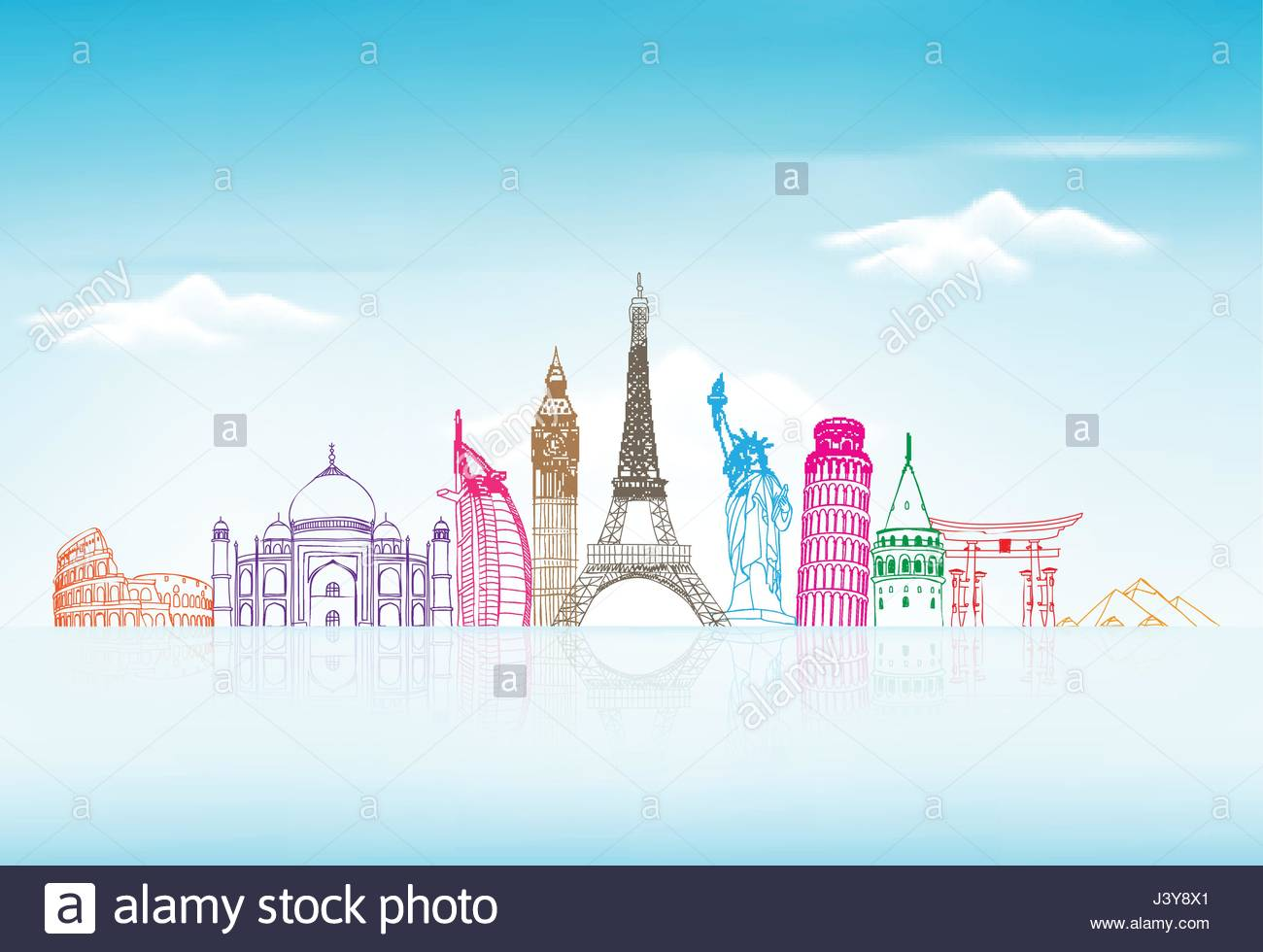 Travel and Tourism with Famous World Landmarks Vector Background 1300x980