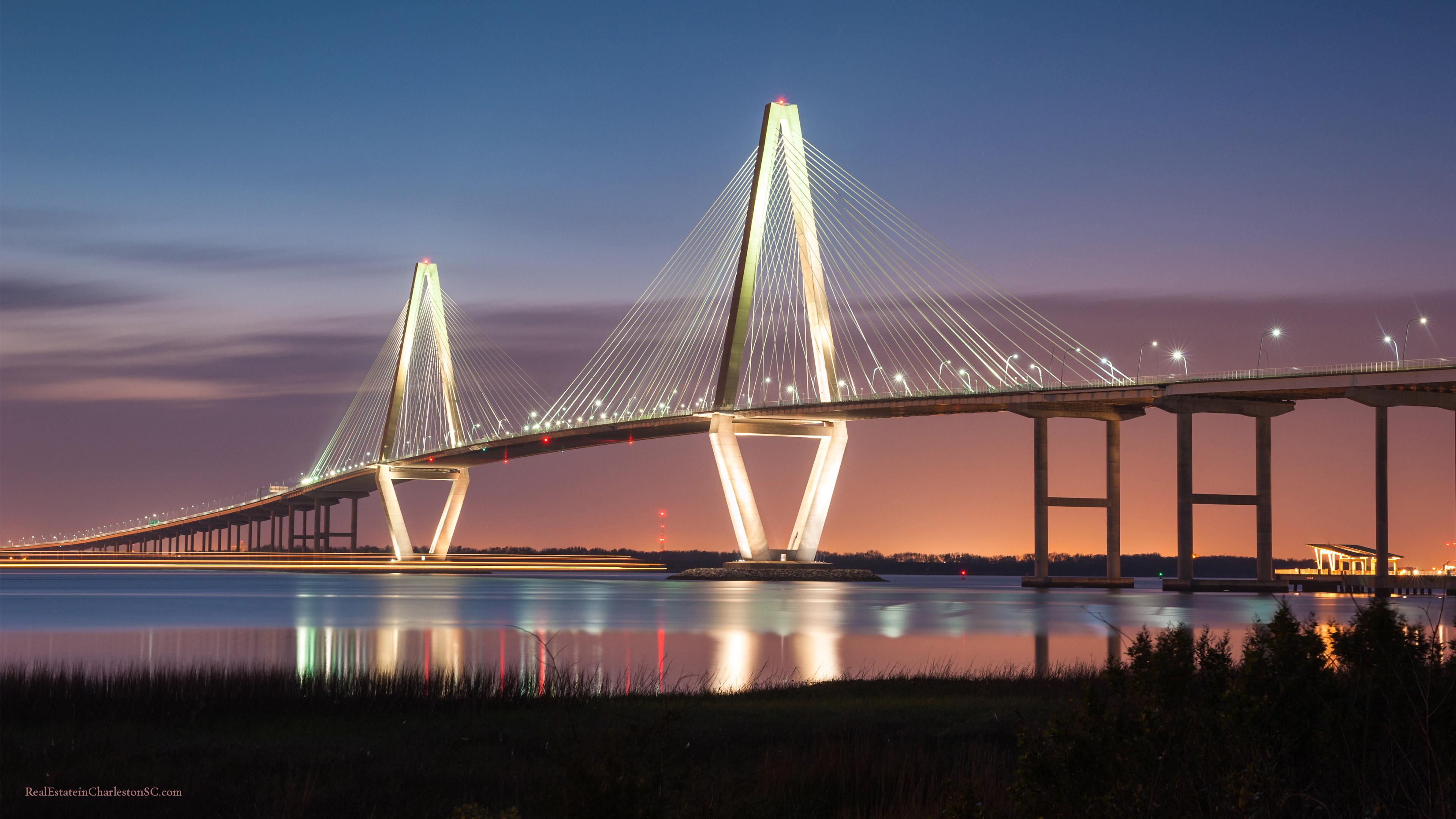 Arthur Ravenel Jr Bridge Dusk 3840x2160