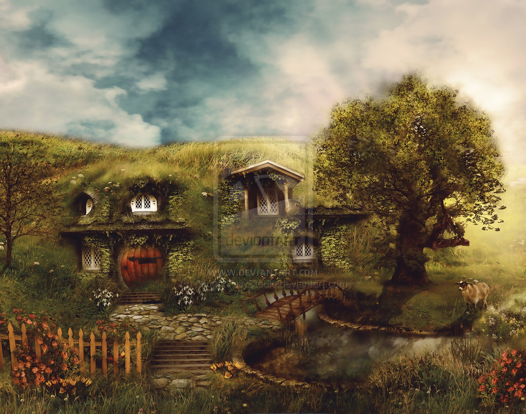 The Hobbit Shire Wallpaper The shire a hobbit house by 1024x805