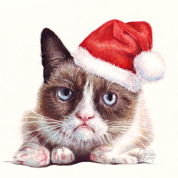 Grumpy Cat as Santa Holiday Portrait by Olechka01 600x600