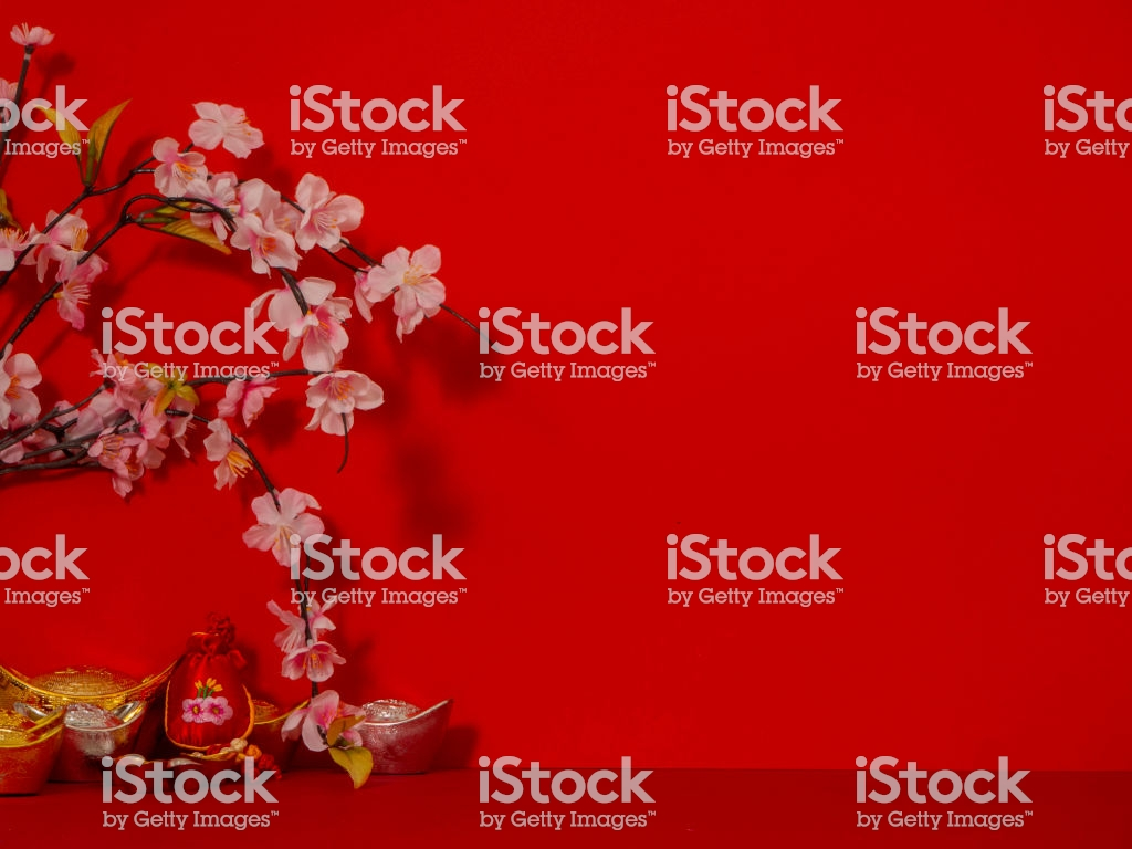 Chinese New Years Decoration For Spring Festival On Red Background 1024x768