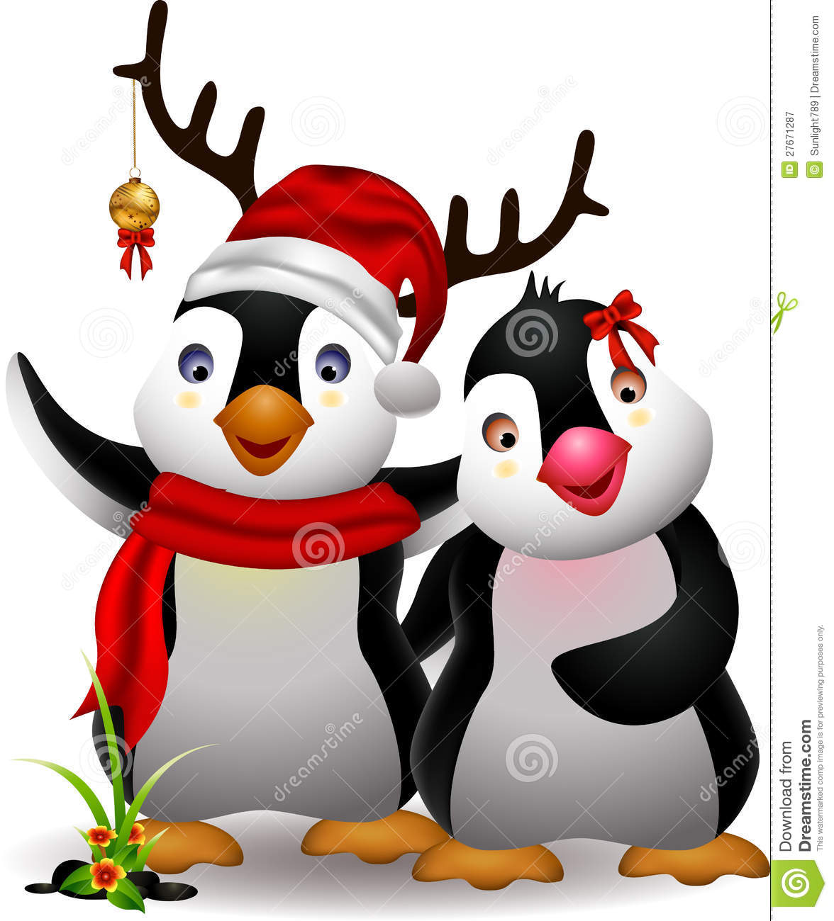 Cute Penguin Christmas Cartoon Couple With Love Illustration 1176x1300