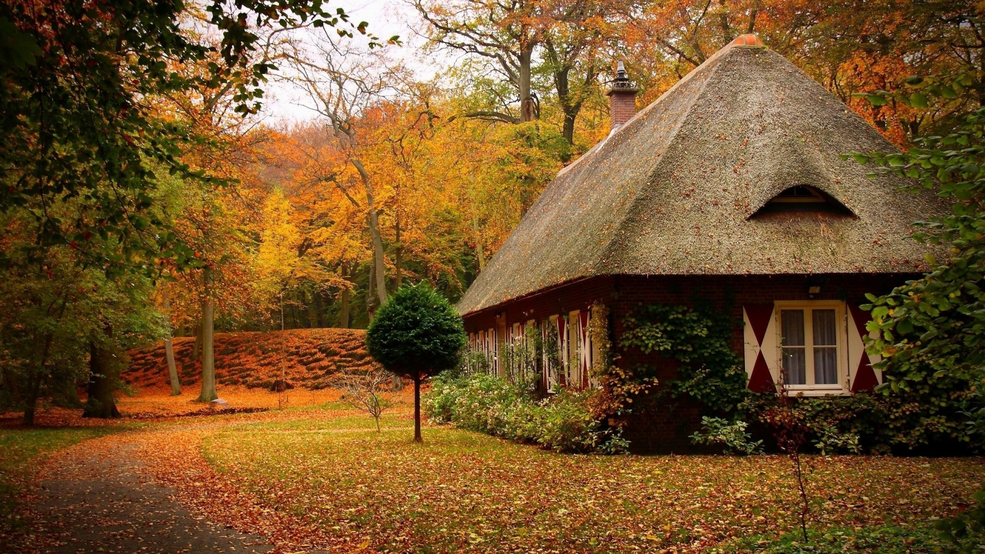 1920x1080 Country House in Autumn desktop PC and Mac wallpaper 1920x1080