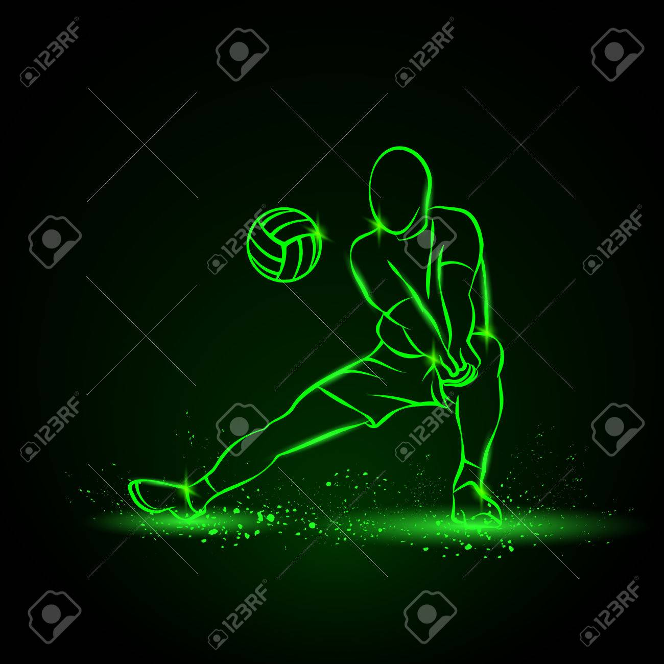 Volleyball Player Plays Volleyball Neon Illustration On A Black 1300x1300
