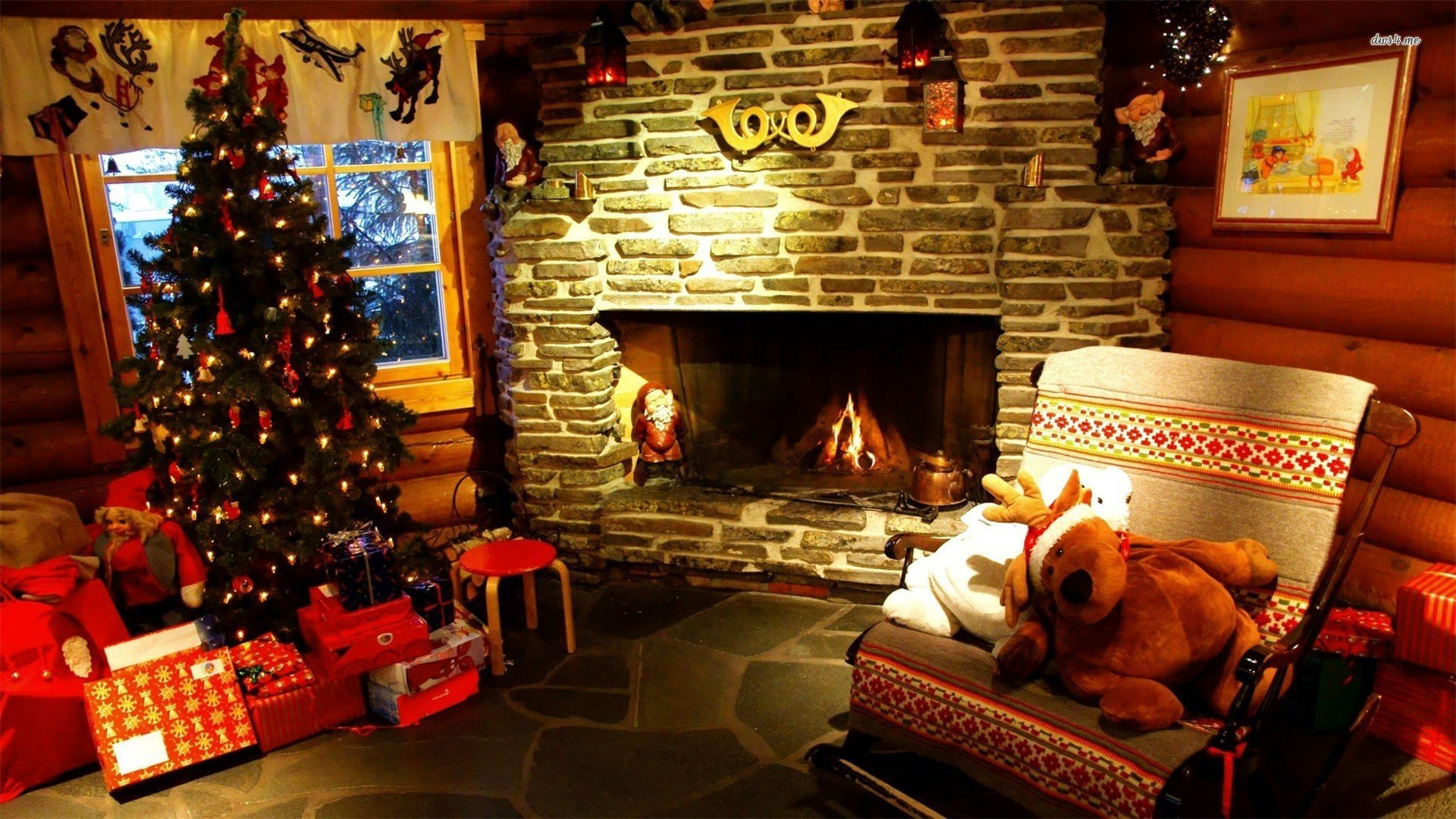 Christmas fireplace wallpaper   Holiday wallpapers   13156 1920x1080