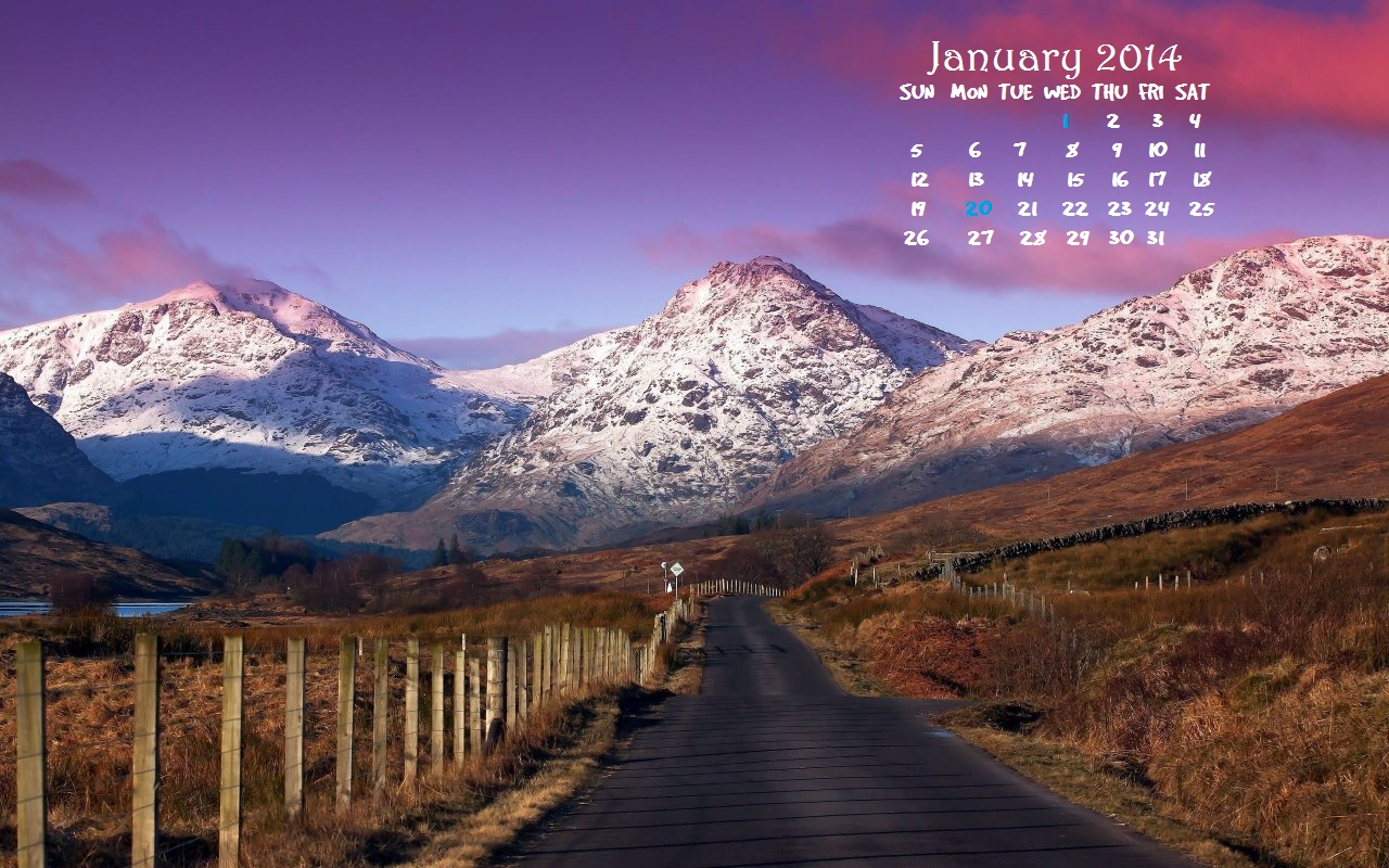 January 2014 HD Wallpaper Calendar Introversion Effect 1280x800
