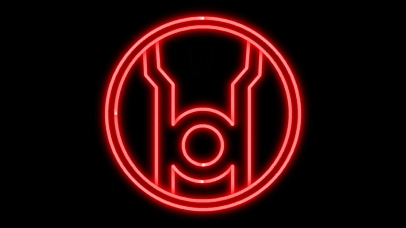 red lantern corps neon symbol wp by morganrlewis fan art wallpaper 1366x768