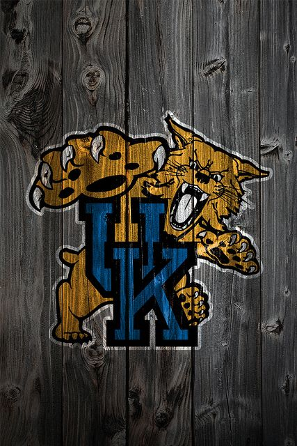 Wildcats BAsketball Logo on Wood for iPhone Wallpaper 427x640