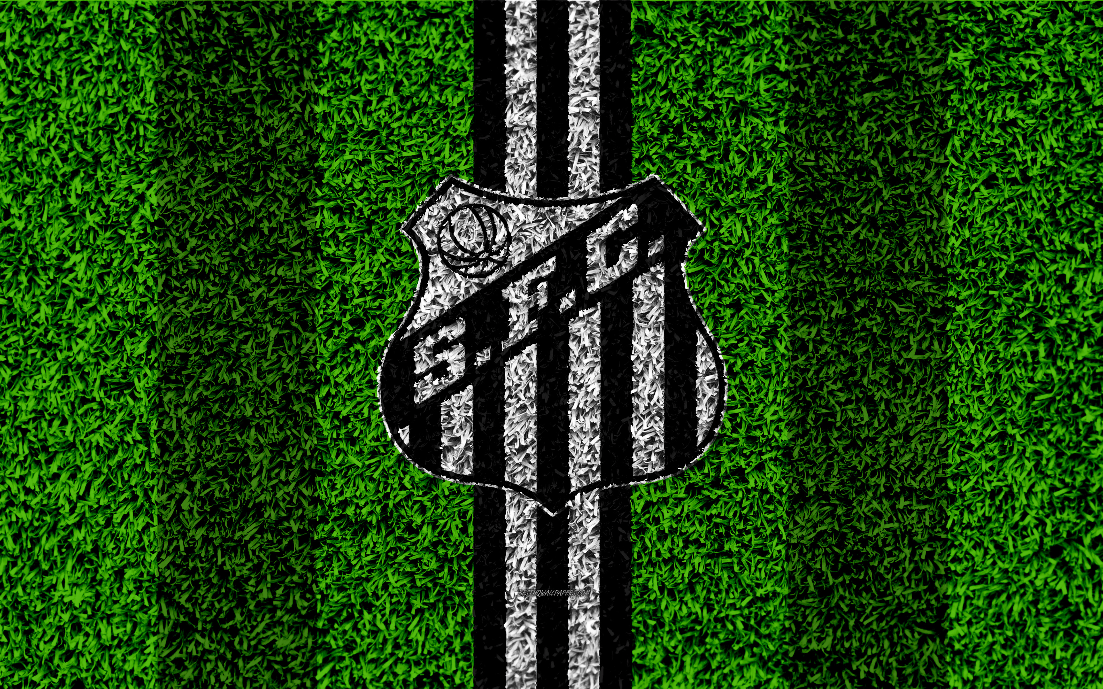 Download wallpapers Santos FC 4k football lawn logo Brazilian 3840x2400
