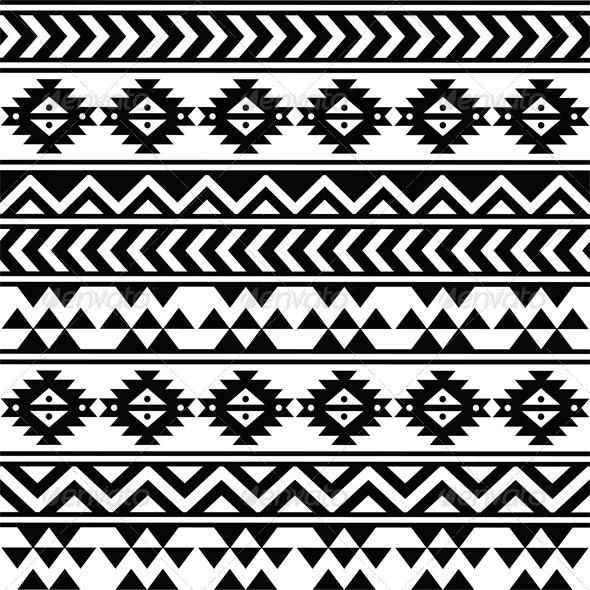 Aztec Tribal Seamless Black and White Pattern   Patterns Decorative 590x590