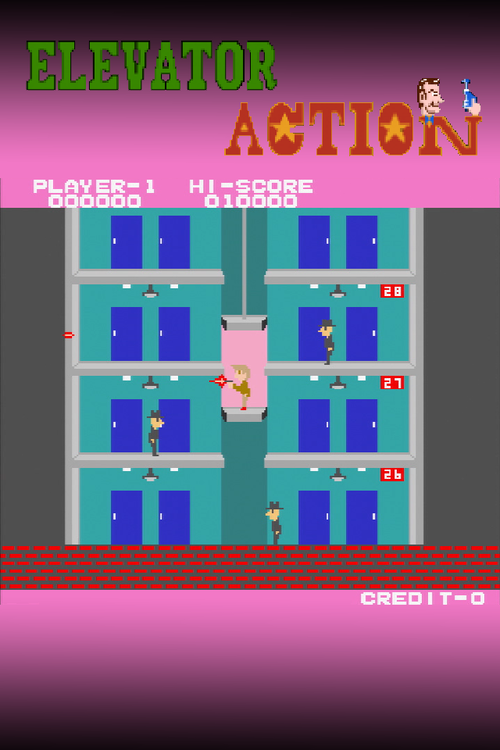 An iPhone wallpaper for the 8 bit arcade video game classic Elevator 500x750