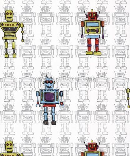 Arthouse Opera Fun Retro Robot Wallpaper 534002 Childrens Kids Multi 417x500