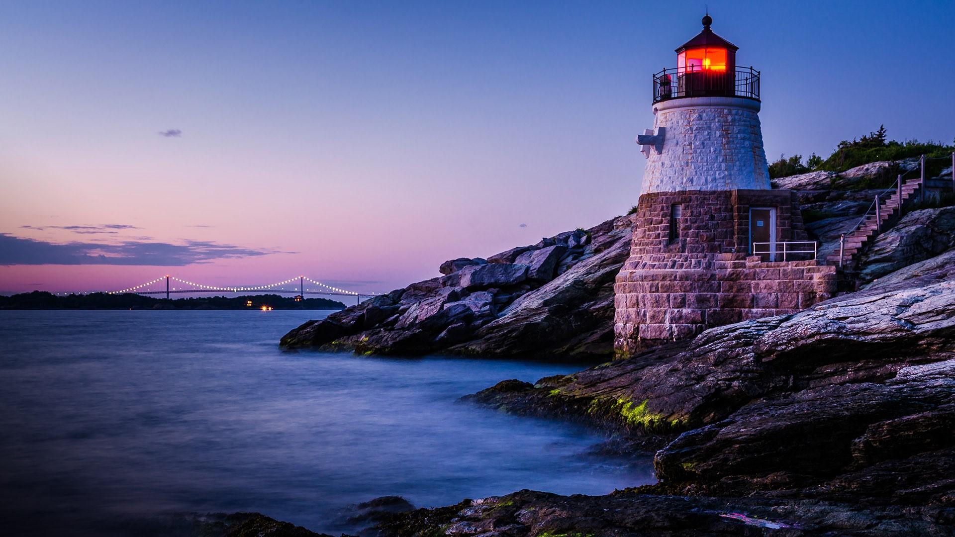 Castle Hill Lighthouse Newport Rhode Island USA Windows 10 1920x1080