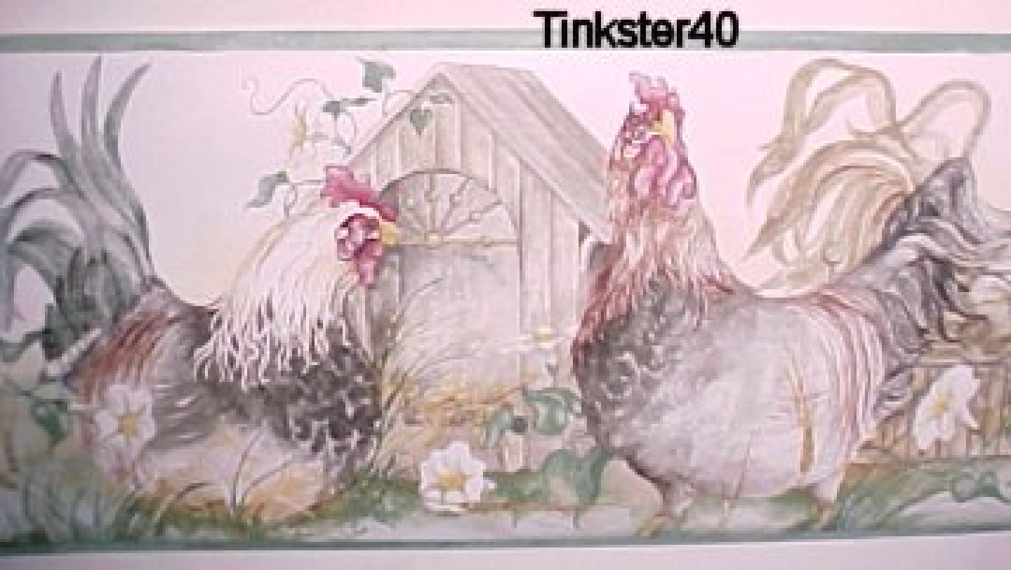 This very nice hens and roosters wallpaper border beautiful colors 1440x812