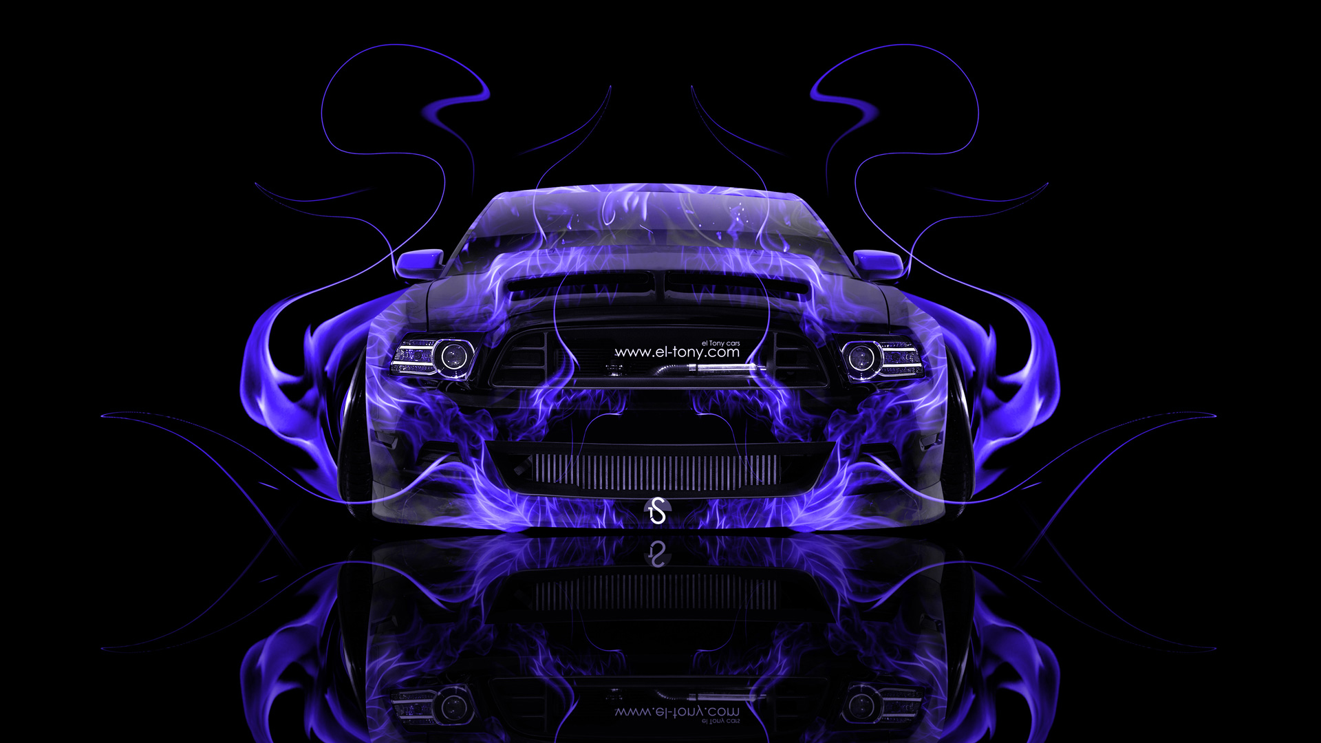 GT Muscle Front Violet Fire Abstract Car 2014 Art HD Wallpapers 1920x1080
