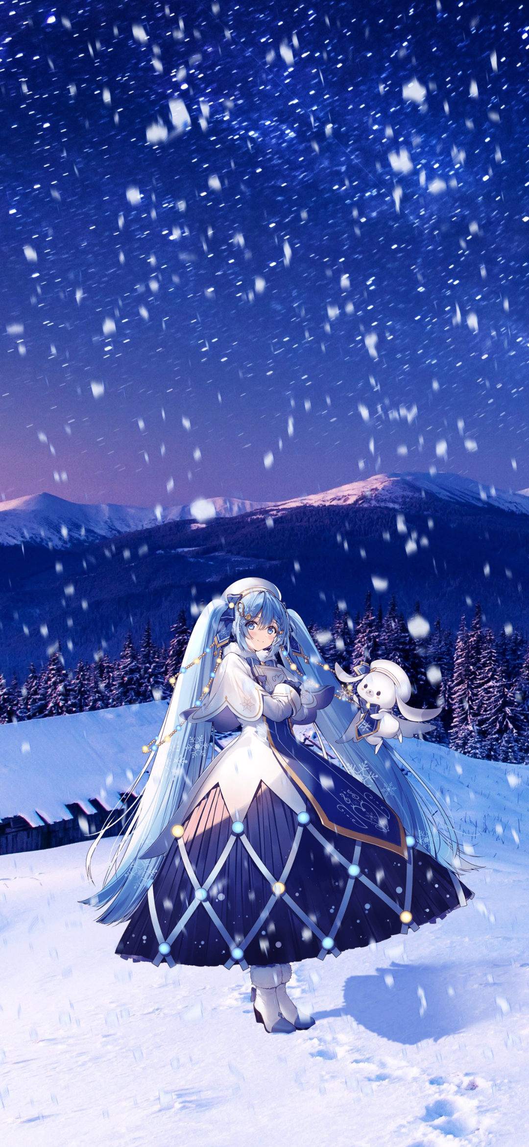 Thought yall might enjoy these snow Miku 2021 wallpapers I edited 1080x2340