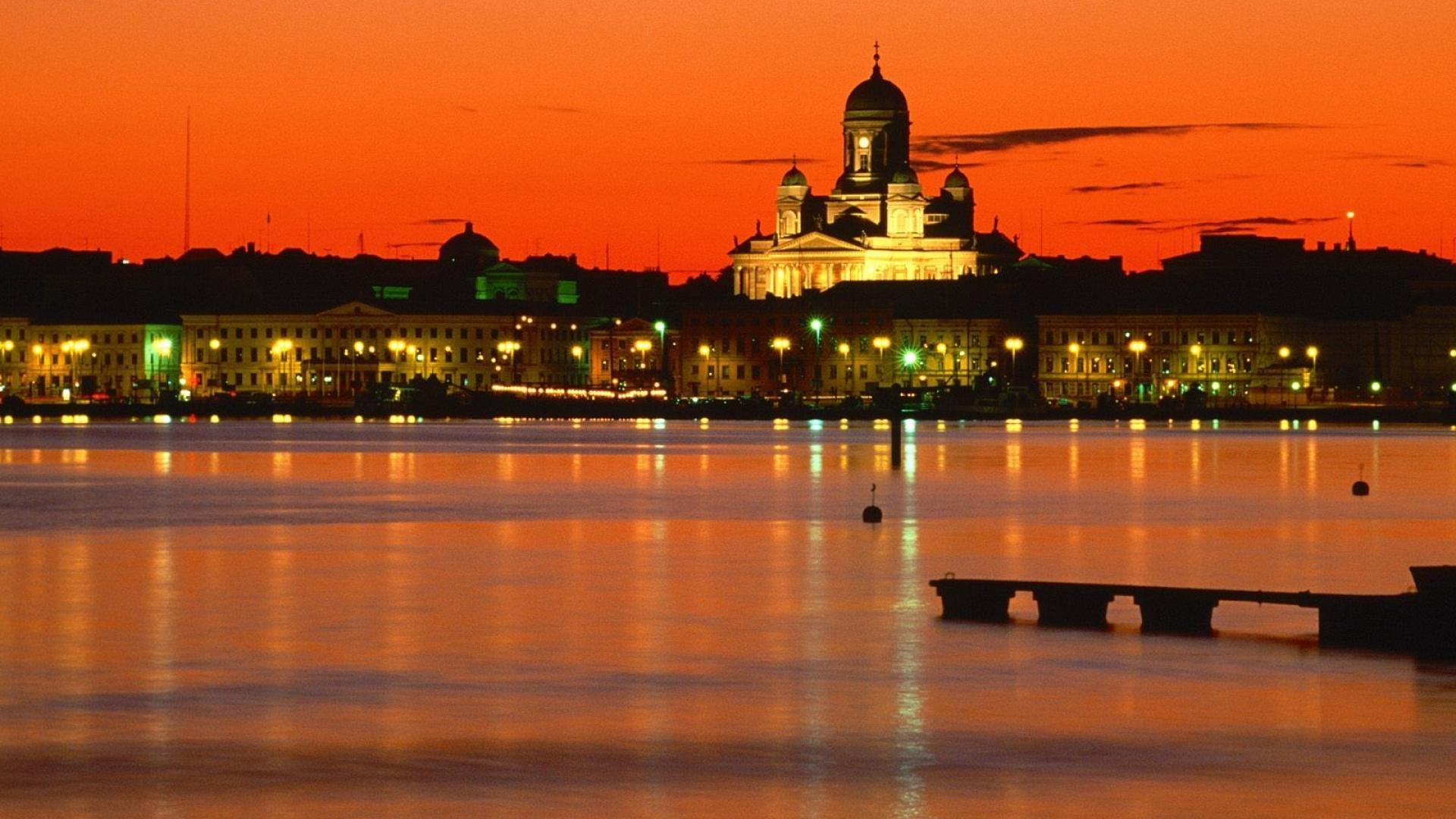 orange finland helsinki twilight time of day wallpaper 17797 1920x1080